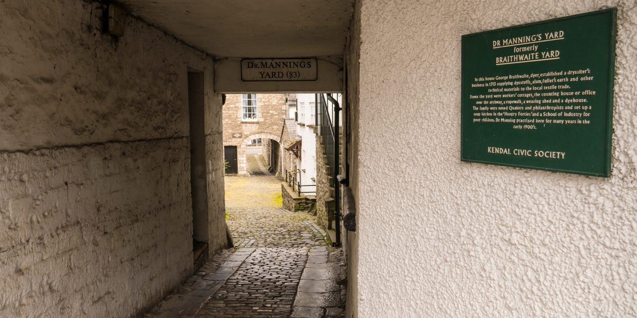 The entrance to Dr Manning's Yard - one of Kendal's historic and beautiful yards