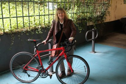 Cllr Jones at the cycle hub in Westmorland Shopping Centre car park